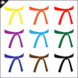Martial arts. Karate colored belts