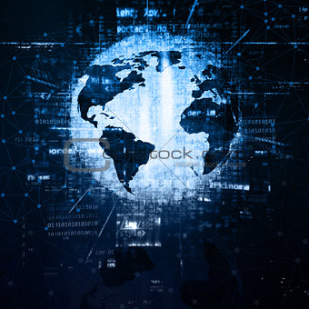 3D globe techno background