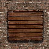 3D grunge wood sign on an old brick wall