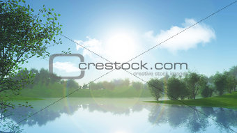 3D landscape with trees against riverbank