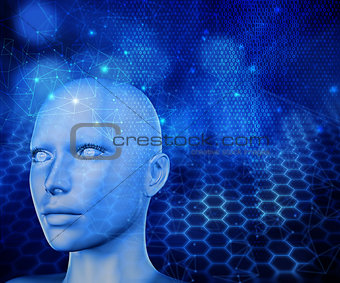 3D modern technology background with female head
