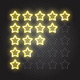 Glowing yellow neon lights 5 stars rating