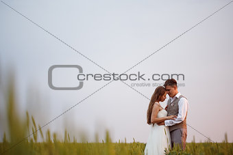 Beautiful wedding couple posing at the nature