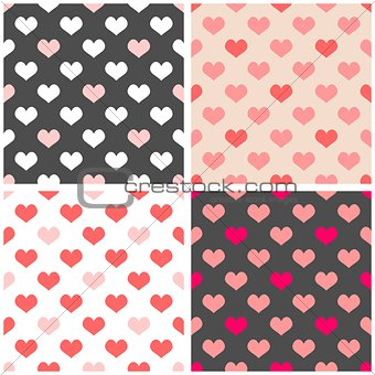 Tile vector pattern set with hearts on grey, white and pastel pink background
