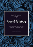 Indigo tropical wedding invitation with monstera palm leaves on dark background. Dark summer background design.