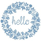 Hello pastel laurel wreath blue vector frame isolated on white background