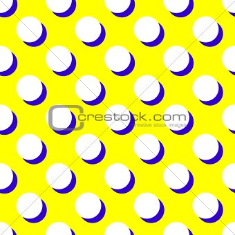 Tile vector pattern with white polka dots and black shadow on yellow background