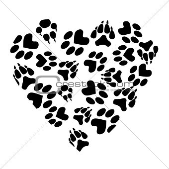 Abstract heart from traces of pets