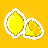 Vector lemon illustration label