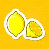 Vector lemon illustration label