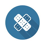 Band Aid and Medical Services Icon. Flat Design.