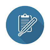 Thermometer and Medical Services Icon. Flat Design.
