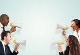 Stress concept with screaming businesspeople. men versus women