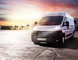 Transport truck ready to deliver packages. 3D rendering