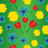 Seamless tulip dandelion and cornflower pattern