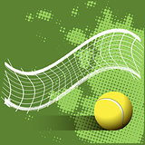 Tennis Ball and Grid on a Green Background