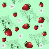 seamless pattern of silhouette strawberry