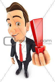 3d businessman holding exclamation mark