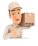 3d delivery man carrying package with thumb up