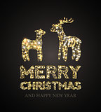 Christmas card with Magic Deer and black background