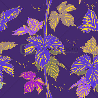 Abstract purple vine liana leaves hops
