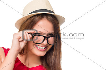 Portrait of stylish girl in glasses on a white background closeu