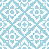 Thai seamless pattern with flowers - tiled design in white on blue background