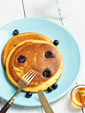 rustic golden blueberry pancake