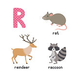 ABC letter R funny kid icons set: raccoon, reindeer, rat