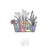 Flower in Pot Logo Illustration Design