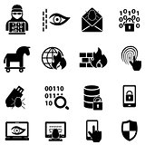 Cyber security, hacker, malware web icons