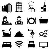 Hotel, resort and hospitality icon set