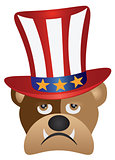 English Bulldog with 4th of July Hat Illustration
