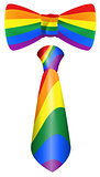 Rainbow tie and bow symbol LGBT