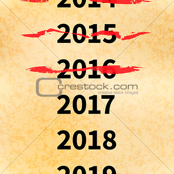 Crossed out years in 2017 calendar, conceptual illustration