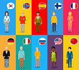 Colourful characters with speech bubbles with different countries flags in flat design style
