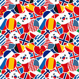 Colourful speech bubbles with different countries flags in flat design style seamless pattern