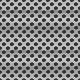 Metal grid with round holes on black, seamless pattern