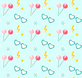 Candy on sticks, glasses in the shape of heart seamless pattern. Fashionable modern endless background, repeating texture. Vector illustration.