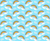 Rainbow seamless pattern. Colorful children's endless background, repeating texture. Vector illustration.