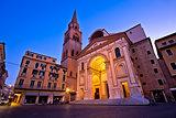 Mantova city Piazza Andrea Mantegna evening view