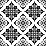 Floral seamless pattern inspired by traditional art form Thailand