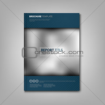 Brochures book or flyer with blue accessories and strips