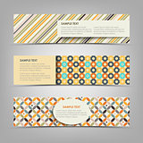 Collection retro banners with different color patterns