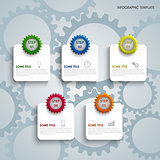 Info graphic with colorful gears and labels template