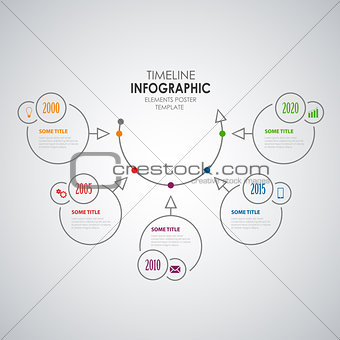 Time line info graphic with round design elements template
