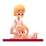 Young beautiful therapist doing baby massage, cartoon vector illustration