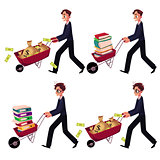 Businessman pushing wheelbarrow full of money bags, book, document folders