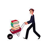 Young man, businessman, student, librarian pushing wheelbarrow with book pile