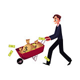 Man, businessman pushing wheelbarrow full of money bags, losing banknotes